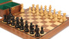 "French Lardy Staunton Chess Set Ebonized and Boxwood Pieces with Walnut Chess Board and Box 3.75"" King - Zoom"