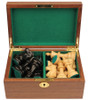 "French Lardy Staunton Chess Set Ebonized and Boxwood Pieces in Walnut Chess Box 3.75"" King"