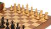 "Fierce Knight Staunton Chess Set Ebonized and Boxwood Pieces with Walnut Chess Board and Box 3"" King - Boxwood Zoom"