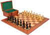 "Fierce Knight Staunton Chess Set Ebonized and Boxwood Pieces with Mahogany Chess Board and Box 3"" King"