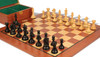 "Fierce Knight Staunton Chess Set Ebonized and Boxwood Pieces with Mahogany Chess Board and Box 3"" King - Zoom"