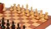 "Fierce Knight Staunton Chess Set Ebonized and Boxwood Pieces with Mahogany Chess Board and Box 3.5"" King - Boxwood Pieces"