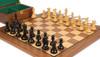 "New Exclusive Staunton Chess Set Ebonized & Boxwood Pieces with Walnut Board & Box - 3.5"" King"