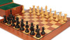 "New Exclusive Staunton Chess Set Ebonized & Boxwood Pieces with Mahogany Board & Box - 3"" King"
