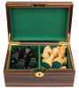 "German Staunton Chess Set Ebonized and Boxwood Pieces in Macassar Ebony Chess Box 2.75"" King"