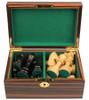 "German Staunton Chess Set Ebonized and Boxwood Pieces in Macassar Ebony Chess Box 3.25"" King"