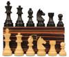 "German Staunton Chess Set Ebonized and Boxwood Pieces with Macassar Ebony Chess Box 3.25"" King"