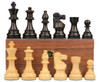 "French Lardy Staunton Chess Set Ebonized and Boxwood Pieces with Walnut Chess Box 3.75"" King"