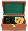 "French Lardy Staunton Chess Set Ebonized and Boxwood Pieces in Mahogany Chess Box 3.75"" King"