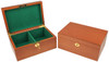 "Deluxe Old Club Staunton Chess Set Ebony & Boxwood Pieces with Mahogany Chess Box - 3.25"" King"