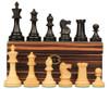 "British Staunton Chess Set Ebonized & Boxwood Pieces with Macassar Ebony Chess Box - 3.5"" King"
