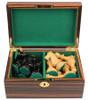 "Deluxe Old Club Staunton Chess Set Ebonized & Boxwood Pieces with Macassar Ebony Chess Box - 3.25"" King"