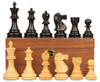 "Deluxe Old Club Staunton Chess Set Ebony & Boxwood Pieces with Walnut Chess Box - 3.75"" King"