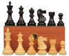 "Deluxe Old Club Staunton Chess Set Ebony & Boxwood Pieces with Mahogany Chess Box - 3.75"" King"