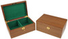 "Fierce Knight Staunton Chess Set Ebonized & Boxwood Pieces with Walnut Chess Box  - 3"" King"
