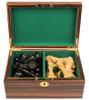 "New Exclusive Staunton Chess Set Ebonized & Boxwood Pieces with Macassar Ebony Chess Box - 3"" King"