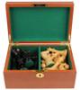 "New Exclusive Staunton Chess Set Ebonized & Boxwood Pieces with Mahogany Chess Box - 3.5"" King"