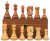 "Yugoslavia Staunton Chess Set Golden Rosewood & Boxwood Pieces with Walnut Chess Box - 3.875"" King"