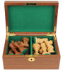 "Parker Staunton Chess Set Golden Rosewood & Boxwood Pieces with Walnut Chess Box - 3.75"" King"