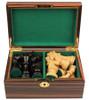 "French Lardy Staunton Chess Set Ebonized and Boxwood Pieces in Macassar Ebony Chess Box 3.25"" King"