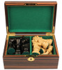 "French Lardy Staunton Chess Set Ebonized and Boxwood Pieces in Macassar Ebony Chess Box 3.75"" King"