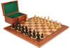 "British Staunton Chess Set Ebonized & Boxwood Pieces with Mahogany Board & Box - 3.5"" King"