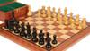 "Deluxe Old Club Staunton Chess Set Ebonized & Boxwood Pieces with Mahogany Board & Box - 3.25"" King"