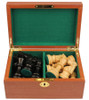 "French Lardy Staunton Chess Set Ebonized and Boxwood Pieces in Mahogany Chess Box 3.75"" King"