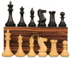 "New Exclusive Staunton Chess Set Ebonized & Boxwood Pieces with Macassar Ebony Board & Box - 3"" King"