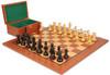 "New Exclusive Staunton Chess Set Ebony & Boxwood Pieces with Mahogany Board & Box  - 4"" King"