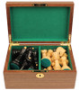 "Yugoslavia Staunton Chess Set Ebonized & Boxwood Pieces with Walnut Board & Box - 3.25"" King"