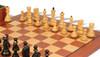 """Yugoslavia Staunton Chess Set Ebonized & Boxwood Pieces with Mahogany Board & Box - 3.875"""" King"""