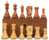 "Yugoslavia Staunton Chess Set in Golden Rosewood & Boxwood with Walnut Board & Box - 3.875"" King"