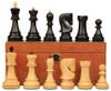 """Yugoslavia Staunton Chess Set Ebony & Boxwood Pieces with Mahogany Board & Box - 3.875"""" King"""
