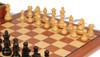 "German Knight Staunton Chess Set Ebonized and Natural Boxwood Pieces with Mahogany Chess Board and Box 3.25"" King - Boxwood"