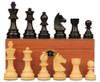"German Knight Staunton Chess Set Ebonized and Natural Boxwood Pieces on Mahogany Chess Box 3.75"" King"