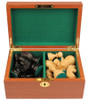 "German Knight Staunton Chess Set Ebonized and Natural Boxwood Pieces in Mahogany Chess Box 3.75"" King"