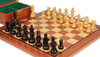 "German Knight Staunton Chess Set Ebonized and Natural Boxwood Pieces with Mahogany Chess Board and Box 3.75"" King - Closer"