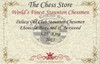 "Deluxe Old Club Staunton Chess Set Ebony & Boxwood Pieces with Macassar Ebony Chess Box - 3.25"" King"