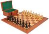 "Fierce Knight Staunton Chess Set Ebonized and Boxwood Pieces with Mahogany Chess Board and Box 4"" King"