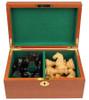 """Fierce Knight Staunton Chess Set Ebonized and Boxwood Pieces in Mahogany Box 4"""" King"""
