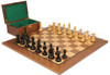 "Fierce Knight Staunton Chess Set Ebonized and Boxwood Pieces with Walnut Chess Board and Box 4"" King"