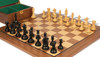"Fierce Knight Staunton Chess Set Ebonized and Boxwood Pieces with Walnut Chess Board and Box 4"" King - Zoom"