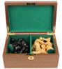 "Fierce Knight Staunton Chess Set Ebonized and Boxwood Pieces in Walnut Box 4"" King"