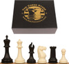 "Zukert Plastic Chess Set Black & Ivory Pieces with Box - 4.25"" King"