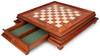 Art Deco Brass Chess Set with Elm Burl Chess Case