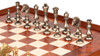 Contemporary Staunton Solid Brass Chess Set with Elm Burl Chess Case