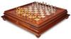 Italian Arabesque Staunton Gold & Silver Chess Set with Elm Burl Chess Case
