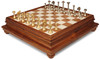 Modern Solid Brass Chess Set with Alabaster & Wood Chess Case