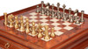 Large Staunton Brass Chess Set with Elm Burl Chess Case